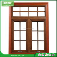 Wholesale price wood color pvc window grills design for sliding windows plastic window pane