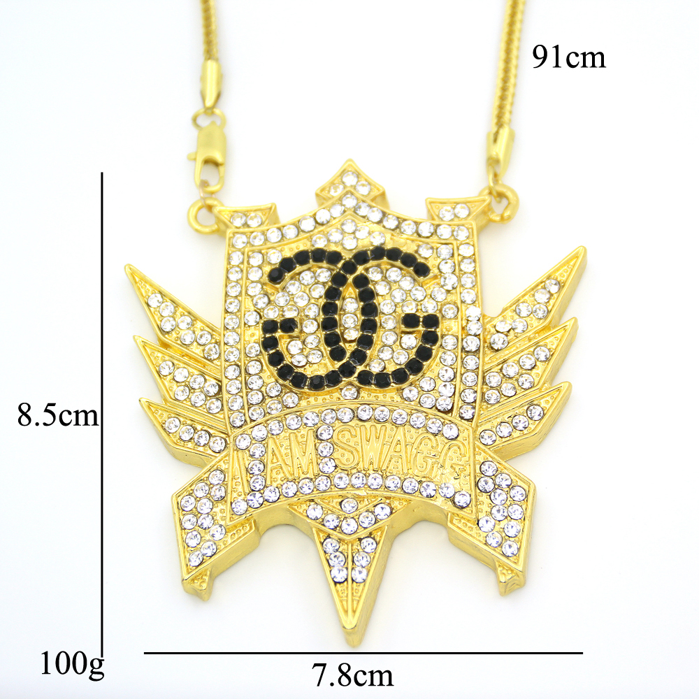 New Bling Bling Iced Out Large Size Crystal pendant real Hip hop Necklace Jewelry for men women fashion jewelry N633