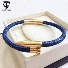Best Sale Luxury Genuine Stingray Leather Stainless Steel Nail Bracelet