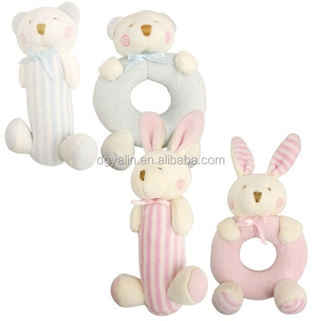 funny baby teether ,plush bear shape soft toy safety baby rattles wholesale