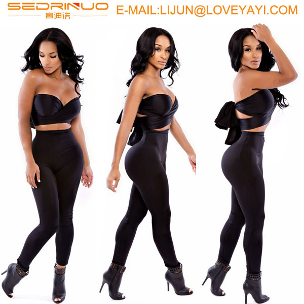 New 2016 Autumn Fashion Women Long Pants Bandage Bodycon Two Piece Jumpsuits Brand Black Sexy Club Wear Overalls Women Bodysuit