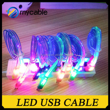 LED light usb charger cable with 10 multi-colored blinking led strip for Samsung