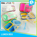 Cheap colorful heatable easy clean silicon 3 compartment lunch box