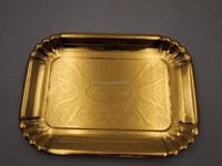 Rectangle Embossing Edge Disposable Paper Plate , golden plate