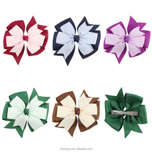 Wholesale Hair Accessories Pinwheel Hair Bow For Kids Double Stacked Bows Hair Clip
