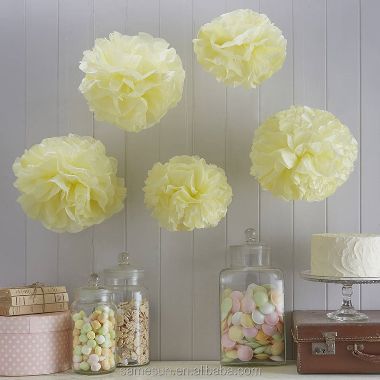 Light Yellow Tissue Paper Pom Poms For Wedding Party <strong>Decor</strong>