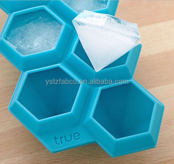 Silicone Ice Cube Tray 6 Diamonds Ice Tray Superior Mold With Flexible Easy Release Ice Cube Maker Mould