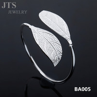 JTS Leaf Shape Silver Plated Copper Cuff Bangle Hand Jewelry BA005