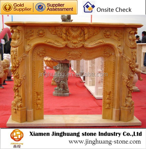 Yellow Carved Marble Outdoor Fireplace Stone Fireplace