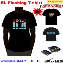 Wholesale custom music el panel t shirt , custom led t shirt, el flashing t shirt
