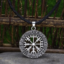 factory direct wholesale viking Nordic Rune Amulet Vegvisir Compass Runic Pendant Necklaces Talisman Jewelry
