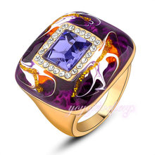 wholesale mens jewelry enamel solid gold plated big stone 18kgp rings