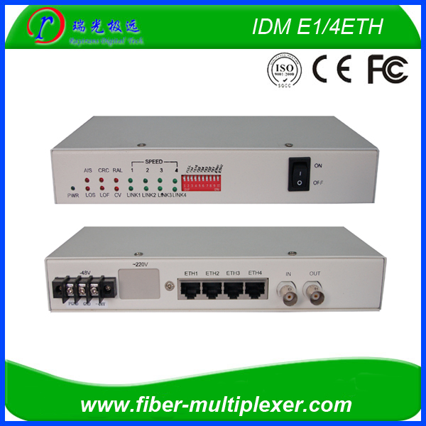 2 channel e1 and 4 port 100M ethernet over e1 converter
