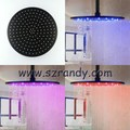 12-inch Stainless Steel Round Rain Shower Head with 3 Colors Temperature Sensitive Led, Oil Rubbed Bronze