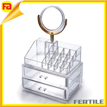 High quality 2 big drawer Acrylic makeup display / PS Cosmetic Organizer Tray with Mirror