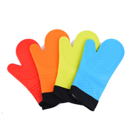 Extra Long BBQ Gloves Hand Protect Thicker Cotton Liner Silicone Cooking Mittens Heat Resistant Oven Mitts