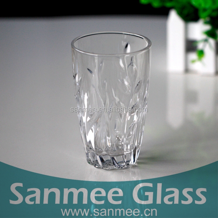 Embossed Clear Highball Shape Drinking Glass Tumbler Hot Sales