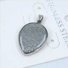 Yiwu Aceon stainless steel Waterdrop Shape Glitter Druzy Pendant