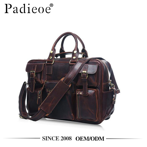 Padieoe PDA255-<strong>Q</strong> Robust style crazy horse leather tote men messenger bags leather