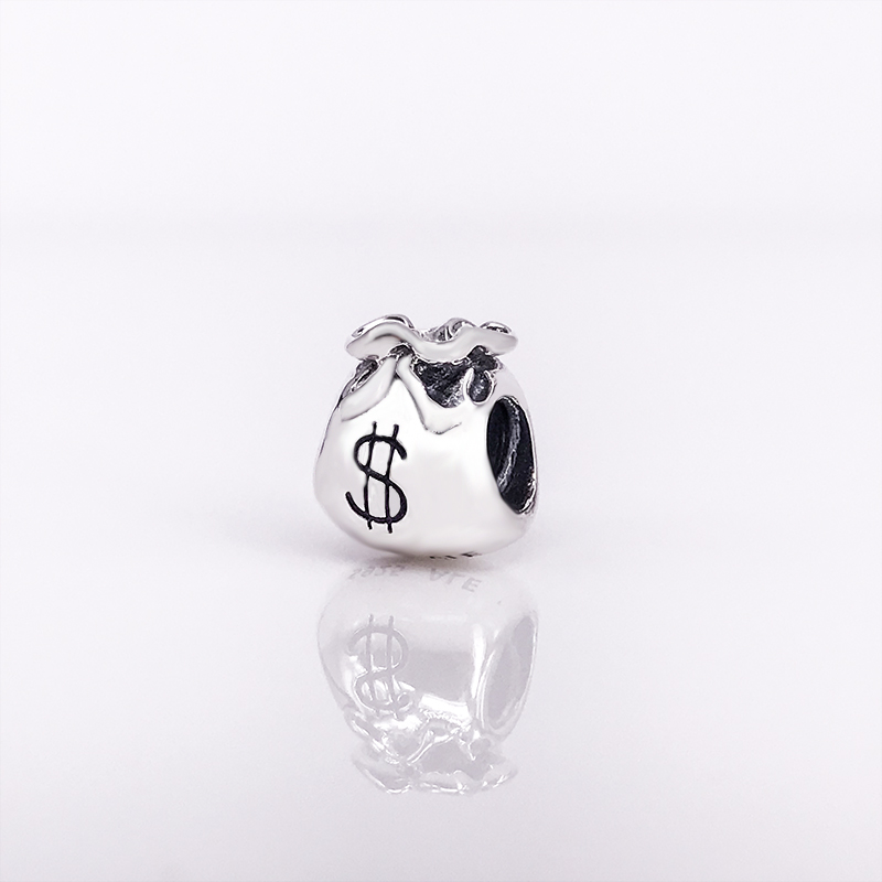 925 Sterling Silver Jewelry Bracelet Beads Money Bags Charm Fit Silver Charms Wholesale