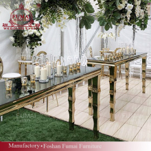 Mirror glass top party long narrow bar dining table