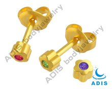 Wedding unique studex ear studs ear piercing gold ear stud