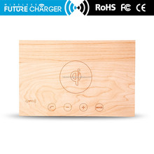 Bamboo wireless bluetooth speaker music playing charger docking station for smartphone, with alarm wooden clock radio