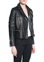 Newest design PU leather short jackets for ladies