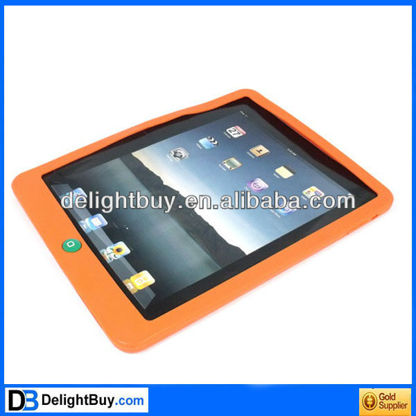 ORANGE Silicone Back Case Skin Cover for Apple iPad 2 3