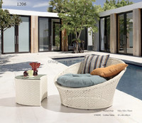 Hot sale garden pool rattan sofa chaise with table SGY-14142C