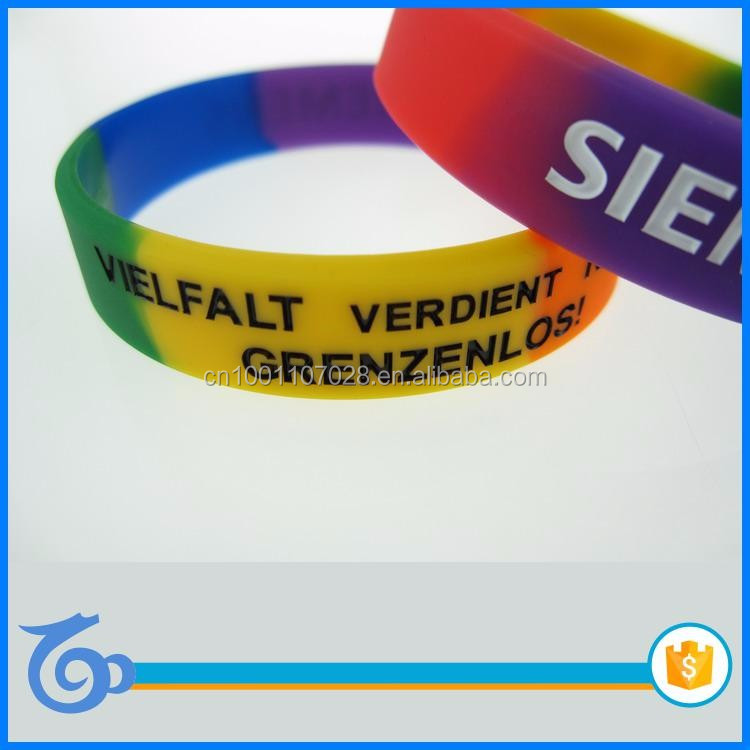 colorful promotional gifts silicone wristband,swirl debossed silicone bracelet