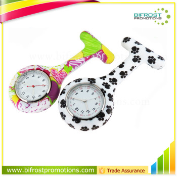 Portable Promotion Gift Brooch Silicone Nurse Watch