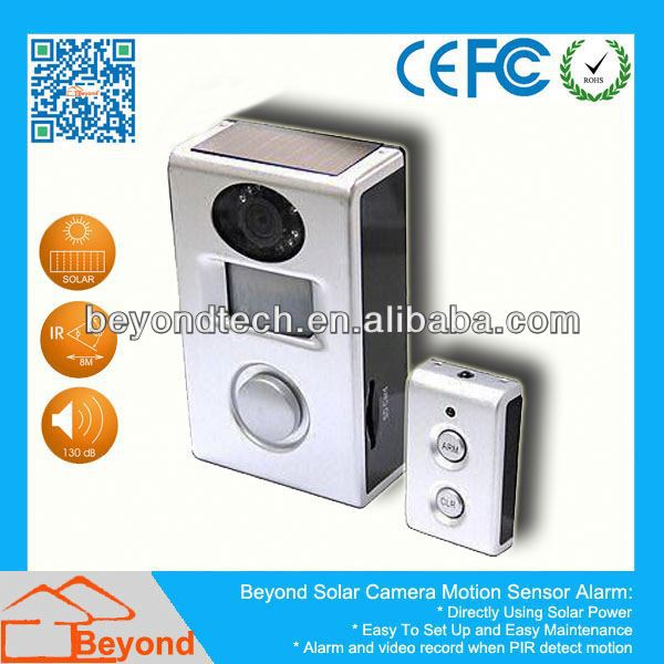 Coms Motion Detection Car Black Box Dvr Solar Camera Alarm With Video Record and Solar Panel