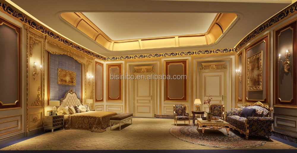 3D Computer Rendering Of Royal Master Room With Complete Furniture And Decoration Item