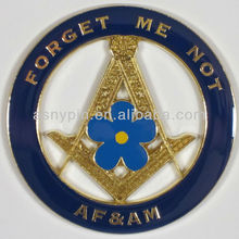 Auto Emblem - Blue Lodge Forget Me Not AF&AM Metal Enamel Freemason Mason