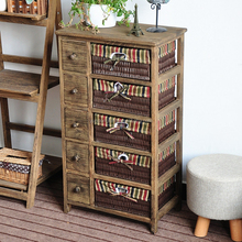 new style brown wooden frame fabric drawer storage cabinet