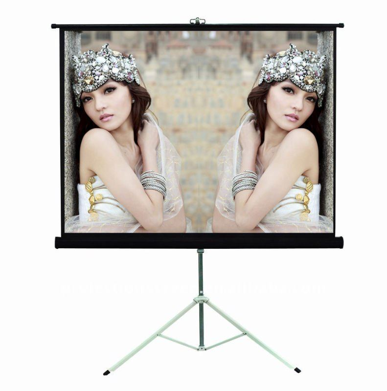 Stand tripod projection screen black or white color customized size Matte White fabric 1.1 gain
