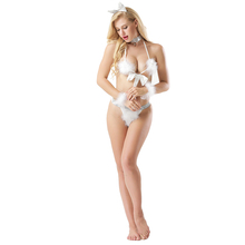 Three-point rabbit hair open-plan sexy baby doll lingerie