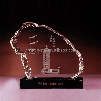 Wholesale 3D laser Engraving block crystal company logo design iceberg for corporate gift