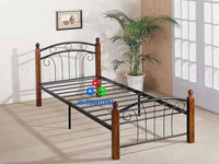 Good quality metal single bed designs with round wood post legs