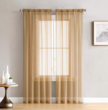 Faster Delivery Window Treatment 1PC MOQ Living Room Rod Pocket Voile Curtain Fabric Sheer