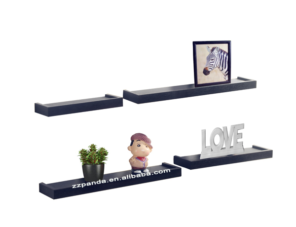 Set of 4 Floating Hanging shelves in Black Finish