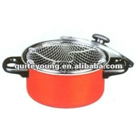 Nonstick contempo deep fry pan with basket & lid