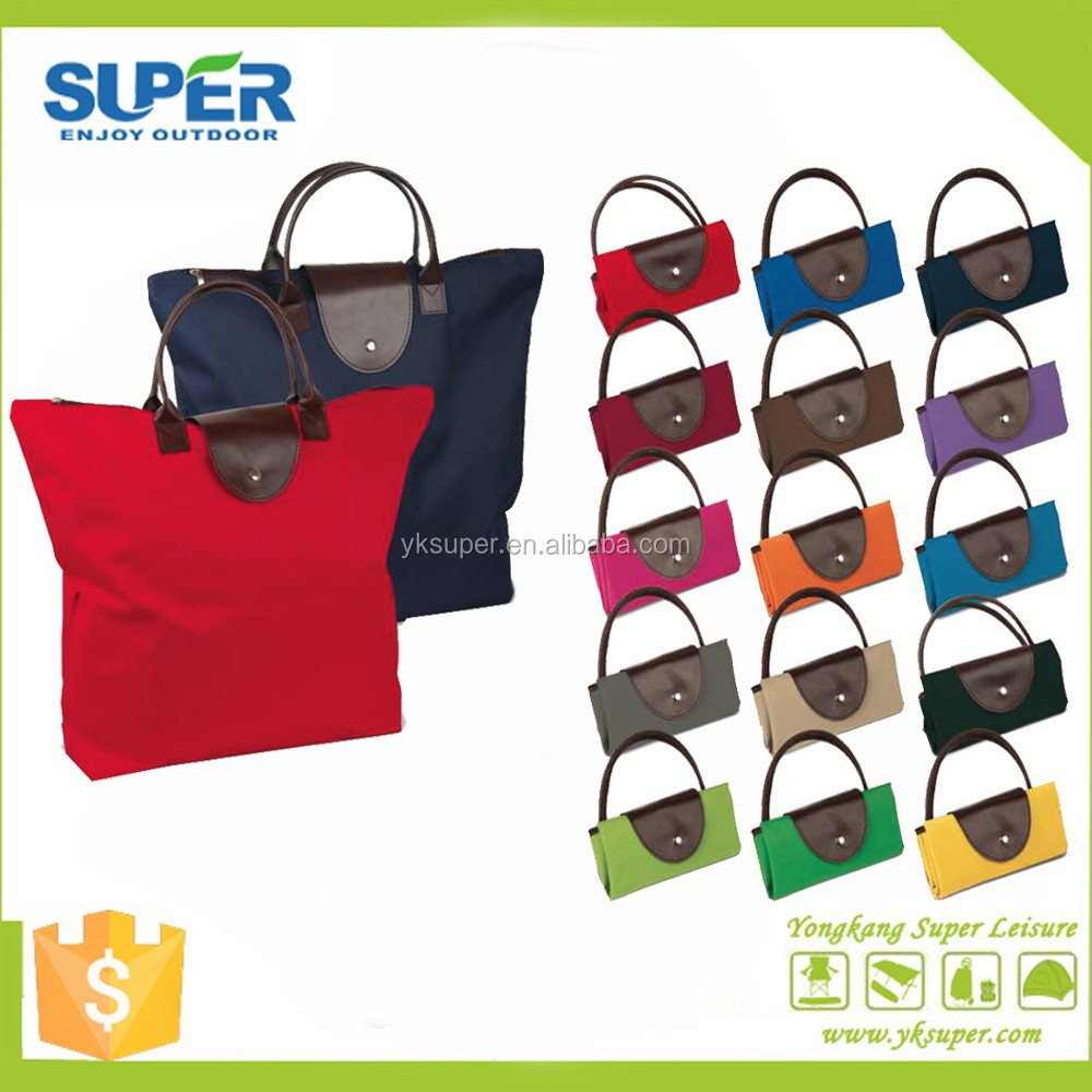 Top quality Polyester with PVC coated foldable shopping bag