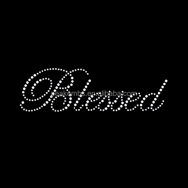 Wholesale Blessed Rhinestone Iron On Letters Trasnfers For Tshirt
