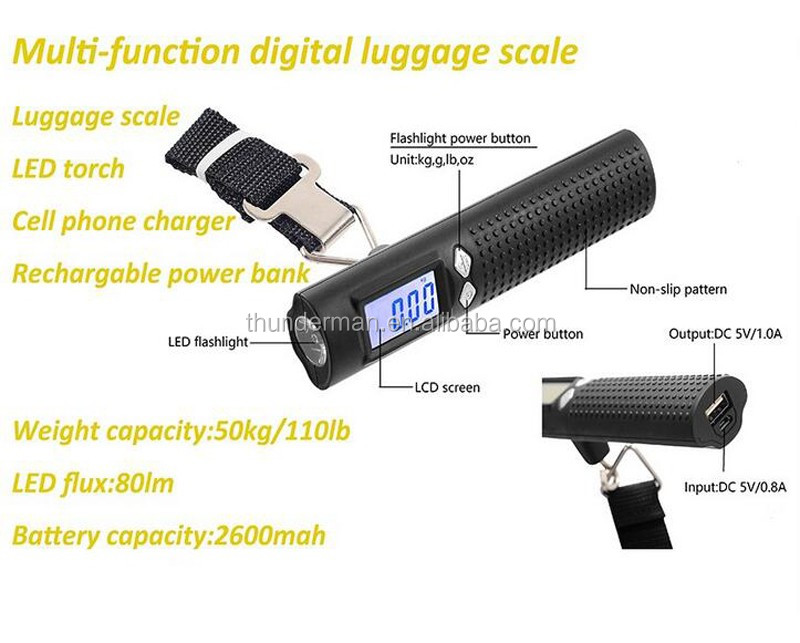 Newly 50kg digital luggage scale with 2600mAh power bank