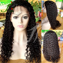 Natural Hairline 8A Remy Brazilian Virgin Human Hair Glueless Full Lace Wig Jerry Curly Lace Front Wig with More Baby Hair