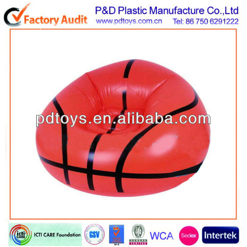 baseball shape child pvc inflatable chair