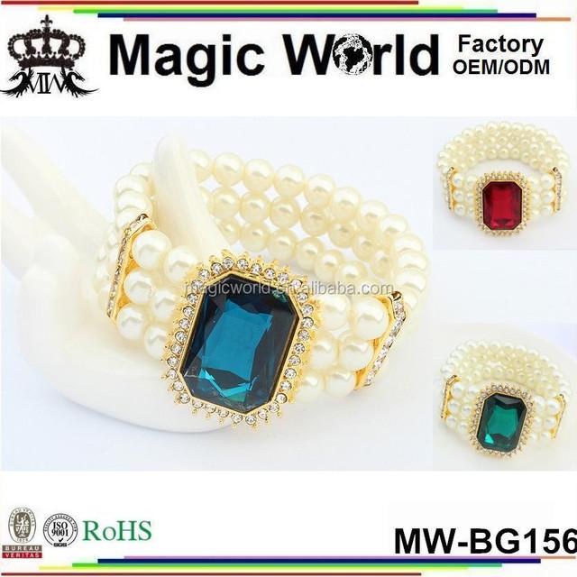 Fashion Model T-Show Elegant Plastic Pearl Gem Women Jewelry Bracelet Bangle