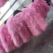 2016 Early spring Newest design lady's top fashion knitted raccoon dog fur jacket/coat